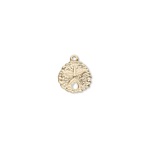 charm, 14kt gold-filled, 10mm sand dollar with hole. sold per pkg of 2.