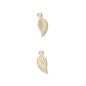 charm, 14kt gold-filled, 10x5mm single-sided left- and right-facing textured leaf. sold per pkg of 2.