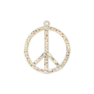 charm, 14kt gold-filled, 21mm hammered flat peace sign. sold individually.
