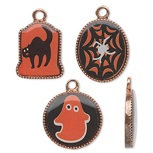charm, acrylic and antique copper-finished pewter (zinc-based alloy), black / white / orange, 17mm flat round with ghost / 18x15mm flat oval with spider / 17x14mm tombstone with cat. sold per 3-piece set.