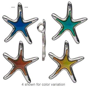 charm, acrylic and imitation rhodium-plated pewter (zinc-based alloy), multicolored, 25x22mm color-changing single-sided starfish. sold per pkg of 2.