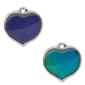 charm, acrylic and imitation rhodium-plated pewter (zinc-based alloy), multicolored, 20x19mm color-changing single-sided heart. sold per pkg of 2.