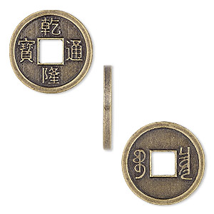 charm, antique brass-finished pewter (zinc-based alloy), 19mm two-sided chinese coin replica with chinese characters. sold per pkg of 4.