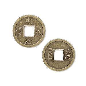charm, antique brass-plated pewter (zinc-based alloy), 18mm double-sided chinese coin replica. sold per pkg of 20.