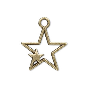charm, antique brass-plated pewter (zinc-based alloy), 27x22mm star. sold per pkg of 20.