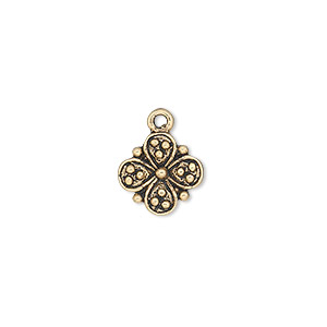 charm, antique gold-finished pewter (zinc-based alloy), 11x11mm single-sided flower. sold per pkg of 20.