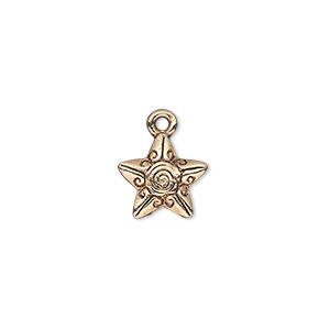 charm, antique gold-finished pewter (zinc-based alloy), 12x11mm single-sided fancy star with swirl and line design. sold per pkg of 20.