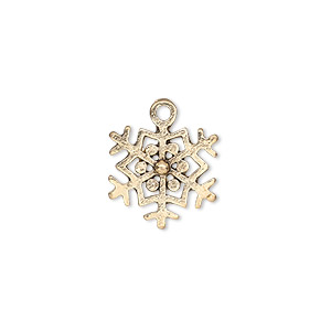 charm, antique gold-finished pewter (zinc-based alloy), 15x14mm single-sided snowflake. sold per pkg of 20.