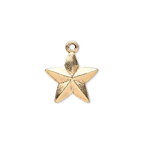 charm, antique gold-finished pewter (zinc-based alloy), 15x15mm double-sided faceted star. sold per pkg of 10.
