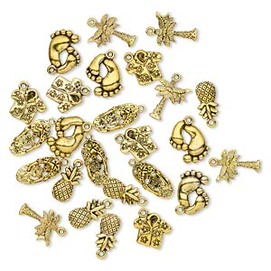 charm, antique gold-finished pewter (zinc-based alloy), 16x9mm-20x10mm single- and double-sided assorted tropical theme. sold per pkg of 25.