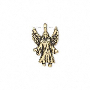 charm, antique gold-finished pewter (zinc-based alloy), 20x13mm single-sided angel. sold per pkg of 10.