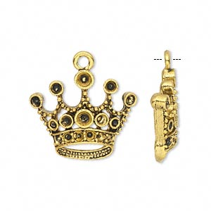 charm, antique gold-finished pewter (zinc-based alloy), 23x20mm single-sided crown with (8) pp14, (6) pp21 and (2) pp24 settings. sold per pkg of 10.