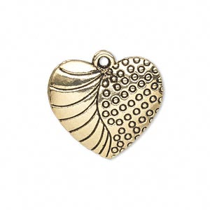 charm, antique gold-finished pewter (zinc-based alloy), 24x22mm single-sided fancy heart. sold per pkg of 10.