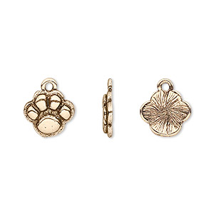 charm, antique gold-plated pewter (tin-based alloy), 12x10mm single-sided paw print. sold per pkg of 4.