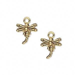 charm, antique gold-plated pewter (tin-based alloy), 13x13mm single-sided dragonfly. sold per pkg of 2.