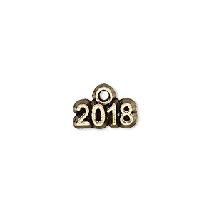 charm, antique gold-plated pewter (tin-based alloy), 13x5mm single-sided 2018. sold per pkg of 2.