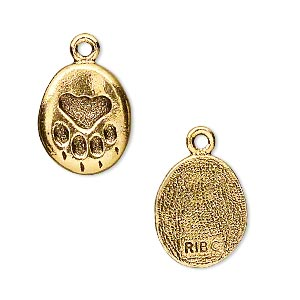 charm, antique gold-plated pewter (tin-based alloy), 17x13mm pet paw. sold per pkg of 2.