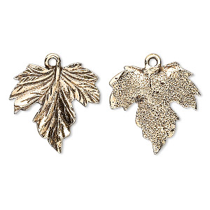 charm, antique gold-plated pewter (tin-based alloy), 20mm grape leaf. sold per pkg of 2.