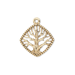 charm, antique gold-plated pewter (tin-based alloy), 20x20mm single-sided diamond with tree of life. sold per pkg of 2.
