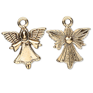 charm, antique gold-plated pewter (tin-based alloy), 21x20mm open arm angel. sold per pkg of 2.