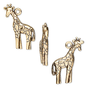 charm, antique gold-plated pewter (tin-based alloy), 24x15mm giraffe. sold per pkg of 4.