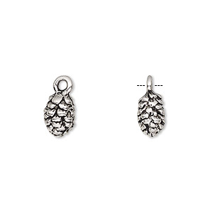 charm, antique silver-finished pewter (zinc-based alloy), 10x7mm 3d pine cone. sold per pkg of 10.