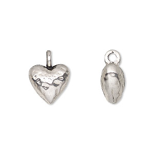 charm, antique silver-finished pewter (zinc-based alloy), 12mm 3d puffed heart. sold per pkg of 4.