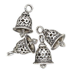 charm, antique silver-finished pewter (zinc-based alloy), 16.5x12mm textured bell with cutout design. sold per pkg of 4.