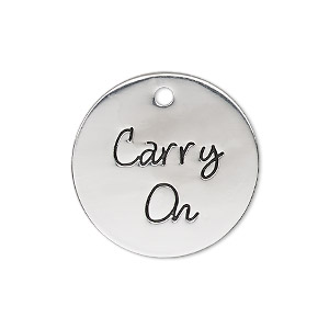 charm, antique silver-finished pewter (zinc-based alloy), 25mm single-sided flat round with carry on. sold individually.
