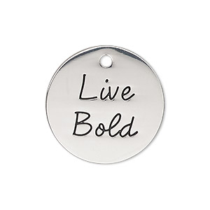 charm, antique silver-finished pewter (zinc-based alloy), 25mm single-sided flat round with live bold. sold individually.