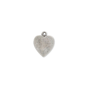 charm, antique silver-plated brass, 11x10mm heart. sold per pkg of 10.