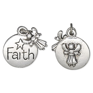charm, antique silver-plated pewter (tin-based alloy), 11.5x9mm angel and 16.5mm two-sided flat round with faith and raised angel design. sold individually.