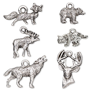 charm, antique silver-plated pewter (tin-based alloy), 14.5x9.5mm-26.5x19mm 3d and two-sided assorted wildlife. sold per pkg of 6.