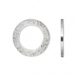 charm, antique silver-plated pewter (tin-based alloy), 22x2mm open round. sold per pkg of 2.