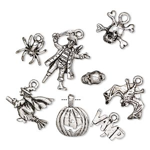 charm, antique silver-plated pewter (tin-based alloy), 9x5.5mm-25x18mm assorted halloween theme. sold per 8-piece set.