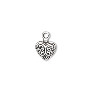 charm, antique silver-plated pewter (zinc-based alloy), 11x10mm single-sided fancy puffed heart. sold per pkg of 10.