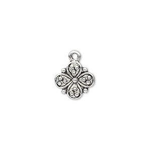 charm, antique silver-plated pewter (zinc-based alloy), 11x11mm single-sided flower. sold per pkg of 20.