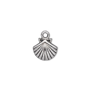 charm, antique silver-plated pewter (zinc-based alloy), 11x11mm single-sided shell. sold per pkg of 50.