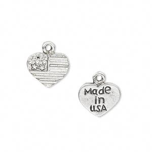charm, antique silver-plated pewter (zinc-based alloy), 12x10mm two-sided heart with american flag design and made in usa. sold per pkg of 20.