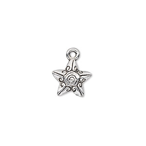 charm, antique silver-plated pewter (zinc-based alloy), 12x11mm single-sided fancy star with swirl and line design. sold per pkg of 20.