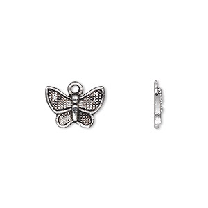 charm, antique silver-plated pewter (zinc-based alloy), 13x10mm single-sided butterfly. sold per pkg of 50.