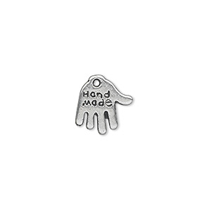 charm, antique silver-plated pewter (zinc-based alloy), 13x11mm double-sided hand with hand made engraving. sold per pkg of 500.
