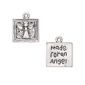 charm, antique silver-plated pewter (zinc-based alloy), 13x12mm two-sided square with angel design and made for an angel. sold per pkg of 10.
