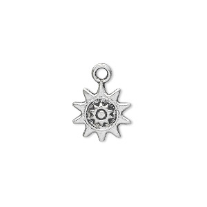charm, antique silver-plated pewter (zinc-based alloy), 13x13mm double-sided sun. sold per pkg of 50.