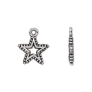 charm, antique silver-plated pewter (zinc-based alloy), 15x15mm double-sided open star. sold per pkg of 20.