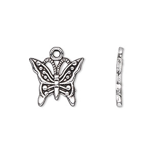 charm, antique silver-plated pewter (zinc-based alloy), 16x13mm single-sided butterfly. sold per pkg of 20.