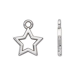 charm, antique silver-plated pewter (zinc-based alloy), 17x17mm double-sided open star. sold per pkg of 20.