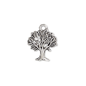 charm, antique silver-plated pewter (zinc-based alloy), 18.5x16.5mm single-sided tree. sold per pkg of 20.