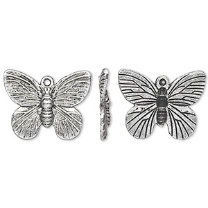 charm, antique silver-plated pewter (zinc-based alloy), 18x14mm double-sided butterfly. sold per pkg of 20.
