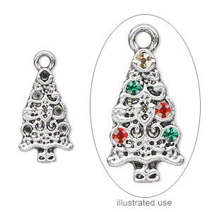 charm, antique silver-plated pewter (zinc-based alloy), 19x11mm single-sided christmas tree with (5) pp12 settings. sold per pkg of 4.